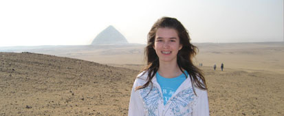 One of our Australian travelers, Sarah Louise Todd, at Dashur with the Bent Pyramid.